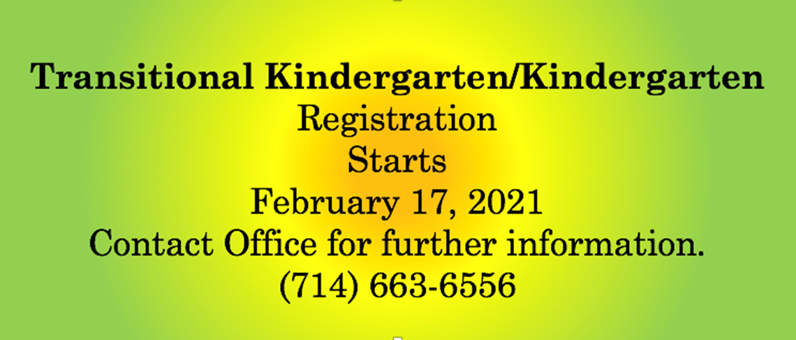 TK and Kinder Registration 2021